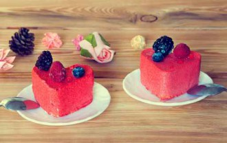 Two heart-shaped cakes