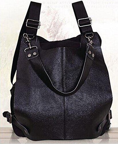 本革 レディース シルク調防水布 リュックサック 鞄 (ブラック、KOKEキーホルダー付き)