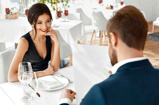 Romantic Couple In Love. Dinner In Restaurant. Romance And Relat