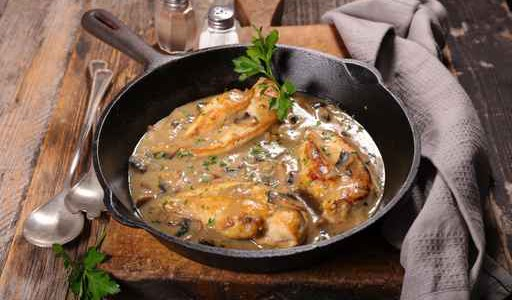 chicken cooked with cream and mushroom