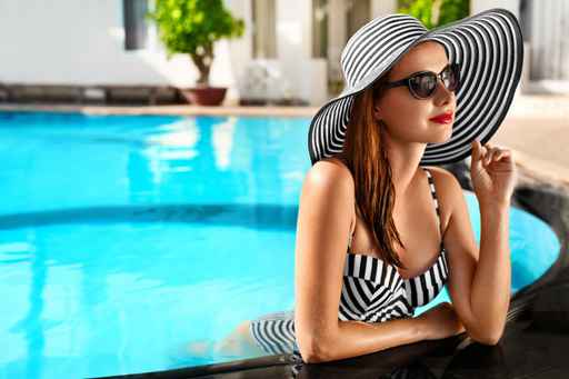 Summer Holidays. Travel Vacation To Spa Resort. Beautiful Fashio