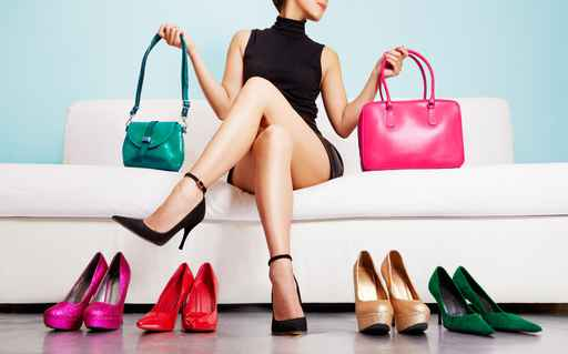 Woman choosing bags and shoes. Fashion and shopping. Colorful co