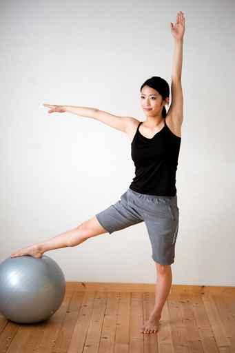 beautiful asian woman exercising